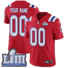 2019 NFL Youth Customized New England Patriots Vapor Untouchable Super Bowl LIII red jersey