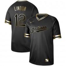 Men Cleveland Indians 12 Lindor Nike Black Gold MLB Jerseys