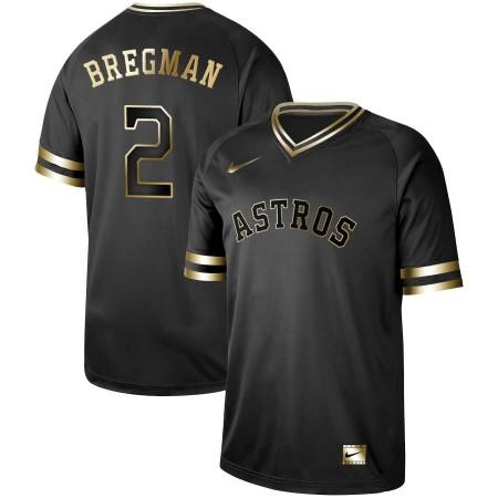 Men Houston Astros 2 Bregman Nike Black Gold MLB Jerseys
