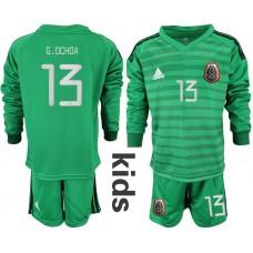 Youth 2019-2020 Season National Team Mexico green long sleeve goalkeeper 13 Soccer Jerseys
