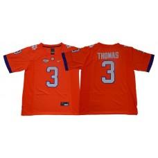Men Clemson Tigers 3 Thomas Orange Nike NCAA Jerseys