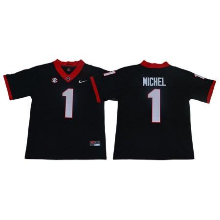 Men Georgia Bulldogs 1 Michel Black Limited Stitched NCAA Jersey