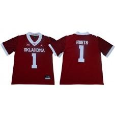 Men Oklahoma Sooners 1 Hurts Red NCAA Jerseys