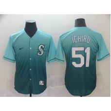 Men Seattle Mariners 51 Ichiro Green Nike Fade MLB Jersey