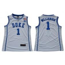 Men Duke Blue Devils 1 Williamson White Nike NCAA Jerseys