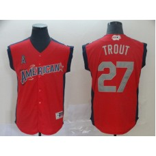 Men Los Angeles Angels 27 Trout Red 2019 All Star MLB Jerseys