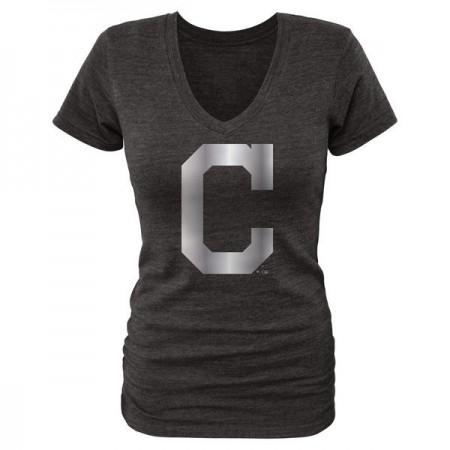 2016 Cleveland Indians Fanatics Apparel Women's Platinum Collection V-Neck Tri-Blend T-Shirt Black