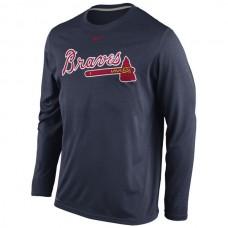 2016 MLB Atlanta Braves Nike Legend Wordmark Long Sleeve Performance T-Shirt - Navy