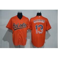2016 MLB Baltimore Orioles 13 Manny Machado Orange USA Flag Fashion Jerseys
