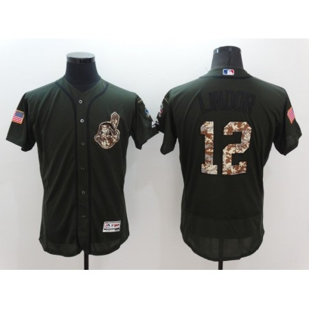 2016 MLB Cleveland Indians 12 Lindor Green Salute to Service Stitched Baseball Jersey