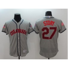 2016 MLB Colorado Rockies 27 Stoty Grey Elite Fashion Jerseys