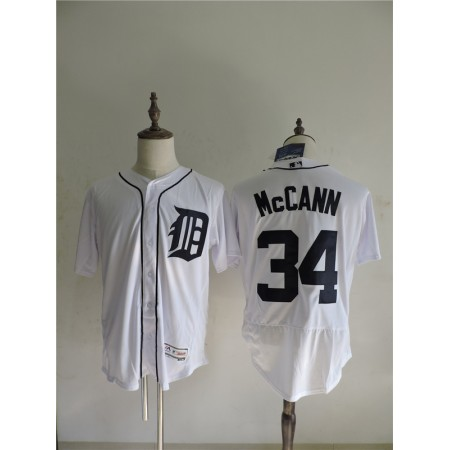 2016 MLB FLEXBASE Detroit Tigers 34 Mccann White Elite Jerseys