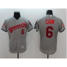 2016 MLB FLEXBASE Kansas City Royals 6 Cain Grey Fashion Jerseys