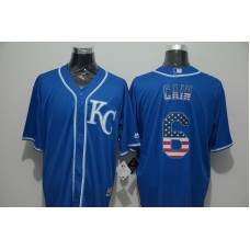 2016 MLB FLEXBASE Kansas City Royals 6 Cain blue jersey