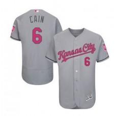 2016 MLB FLEXBASE Kansas City Royals 6 Cain grey mother's day  jerseys