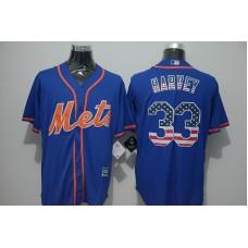 2016 MLB FLEXBASE New York Mets 33 Harvey Blue Jersey
