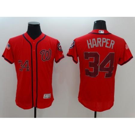 2016 MLB FLEXBASE Washington Nationals 34 Harper Red Fashion Jerseys