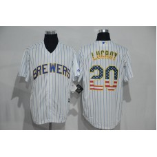 2016 MLB New York Mets 20 Lucroy White USA Flag Fashion Jerseys