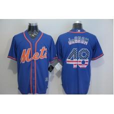 2016 MLB New York Mets 48 Degrom Blue USA Flag Fashion Jerseys