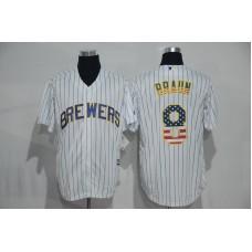 2016 MLB New York Mets 8 Braun White USA Flag Fashion Jerseys