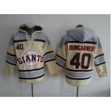 2016 MLB San Francisco Giants 40 Bumgarner cream Lace Up Pullover Hooded Sweatshirt