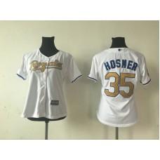 2016 MLB Womens Kansas City Royals 35 ERIC HOSMER WHITE GOLD Jersey