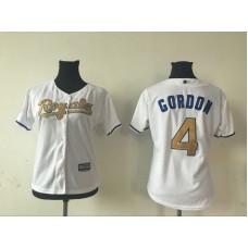 2016 MLB Womens Kansas City Royals 4 ALEX GORDON WHITE GOLD Jersey
