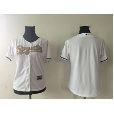 2016 MLB Womens Kansas City Royals Blank WHITE Gold Jersey