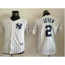 2016 MLB Youth New York Yankees 2 Jeter White stripes Jerseys
