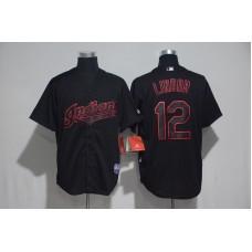 2017 MLB Cleveland Indians 12 Lindor Black Classic Jerseys