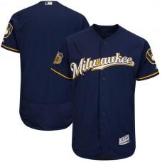 2017 MLB Milwaukee Brewers Blank Blue Jerseys