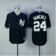 2017 MLB New York Yankees 24 Gary Sanchez Blue Game Jerseys