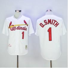 2017 MLB St. Louis Cardinals 1 O.Smith White Throwback Jerseys