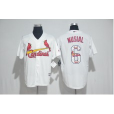 2017 MLB St. Louis Cardinals 6 Musial White Fashion Edition Jerseys