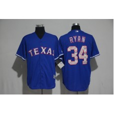 2017 MLB Texas Rangers 34 Ryan Blue Fashion Edition Jerseys