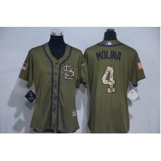Womens 2017 MLB St. Louis Cardinals 4 Molina Green Salute to Service Stitched Baseball Jersey
