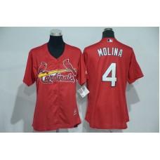 Womens 2017 MLB St. Louis Cardinals 4 Molina Red Jerseys