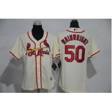 Womens 2017 MLB St. Louis Cardinals 50 Wainwright Cream Jerseys