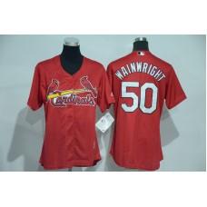 Womens 2017 MLB St. Louis Cardinals 50 Wainwright Red Jerseys