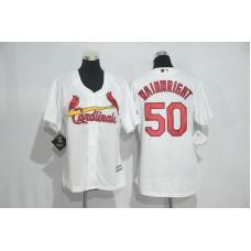 Womens 2017 MLB St. Louis Cardinals 50 Wainwright White Jerseys
