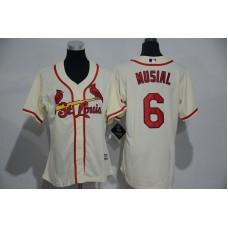 Womens 2017 MLB St. Louis Cardinals 6 Musial Cream Jerseys