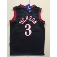2017 NBA Philadelphia 76ers 3 Allen Iverson black kids jerseys