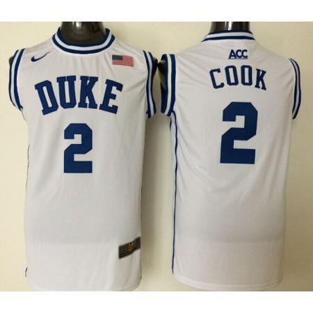 2016 NBA NCAA Duke Blue Devils 2 Cook White Jerseys
