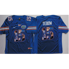 2016 NCAA Florida Gators 15 Tebow Blue Fashion Edition Jerseys