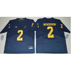 2016 NCAA Jordan Brand Michigan Wolverines 2 Charles Woodson Navy Blue College Football Elite Jersey
