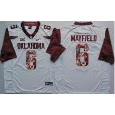 2016 NCAA Oklahoma Sooners 6 Mayfield White Limited Fashion Edition Jerseys