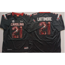 2016 NCAA South Carolina Gamecock 21 Lattimore Black Fashion Edition Jerseys