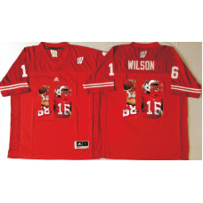 2016 NCAA Wisconsin Badgers 16 Wilson Red Fashion Edition Jerseys