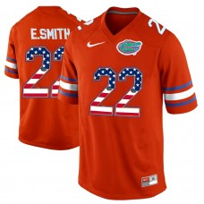 2016 US Flag Fashion Florida Gators E.Smith 22 College Football Jersey  Orange