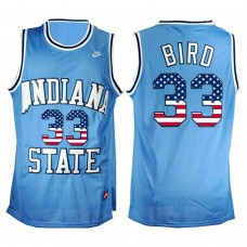 2016 US Flag Fashion Indiana State Sycamores Larry Bird 33 College Basketball Hardwood Legends Jersey Blue
